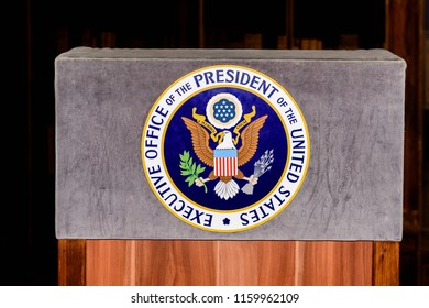 PRAGUE, CZECH REPUBLIC - AUG 6, 2018: Emblem of the President of the United States, Grevin wax museum in Prague.