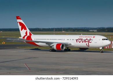 PRAGUE, CZECH REPUBLIC - AUGUST 08: Boeing 767-300 of Air Canada Rouge taxi to terminal at PRG Airport in Prague on August 08, 2017.  Air Canada Rouge is lowcost company of Air Canada.