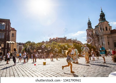 PRAGUE, CZECH REPUBLIC - August 11 , 2016: Old town square in Prague in a summer day, Czech Republic on August 11, 2016