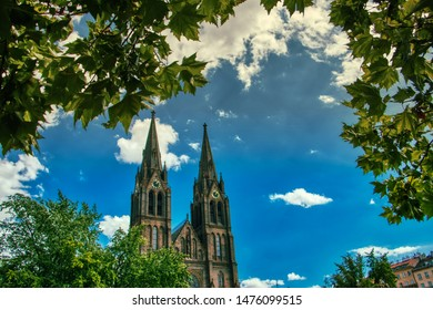 Prague, Czech Republic, August 11 2019 - Namesti Miru church under bright summer sky