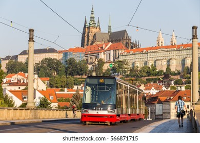 Prague, Czech Republic - August 11, 2015 - tram on the streets of Prague