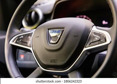 PRAGUE, CZECH REPUBLIC - AUGUST 12, 2020: Steering wheel of Dacia vehicle in Prague, Czech Republic, August 12, 2020