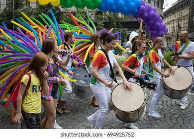 PRAGUE, CZECH REPUBLIC - AUGUST 12, 2017: Batucada musicians participating in Prague Pride - a big gay & lesbian pride