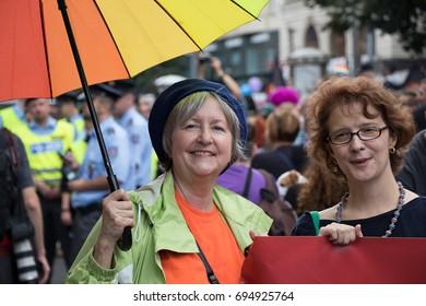 PRAGUE, CZECH REPUBLIC - AUGUST 12, 2017: Women participating in Prague Pride - a big gay & lesbian pride