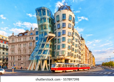 PRAGUE, CZECH REPUBLIC - AUGUST 13, 2016: Dancing house or Fred and Ginger building in downtown Prague, Czech Republic. Built by Vlado Milunic and Frank Gehry in 1992-1996.