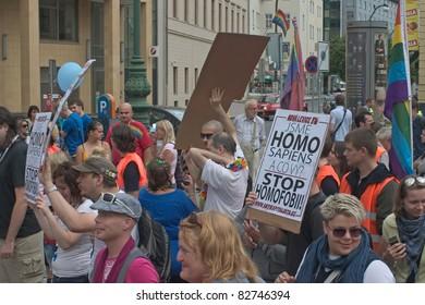 PRAGUE, CZECH REPUBLIC - AUGUST 13: Participants and spectators in the first Prague Pride Parade, a festival of tolerance, on August 13, 2011 in Prague, Czech Republic