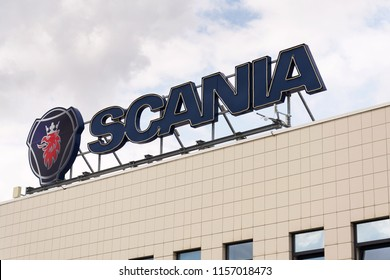 PRAGUE, CZECH REPUBLIC - AUGUST 15 2018: Scania AB Swedish company logo on service dealership headquarters on August 15, 2018 in Prague, Czech Republic.