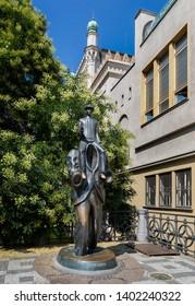Prague, Czech Republic - August 17, 2017: Franz Kafka monument in Prague