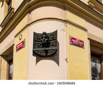 Prague, Czech Republic - August 17, 2017: Plaque marking the birthplace of Franz Kafka in Prague