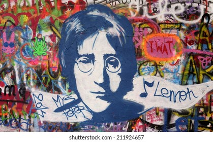 PRAGUE, CZECH REPUBLIC - AUGUST 19: The Lennon Wall since the 1980s is filled with John Lennon-inspired graffiti and pieces of lyrics from Beatles songs on august 05, 2014 in Prague, Czech Republic