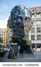 PRAGUE, CZECH REPUBLIC - August 2, 2018: Revolving statue of the head of Franz Kafka in Prague. Modern statue of the famous writer