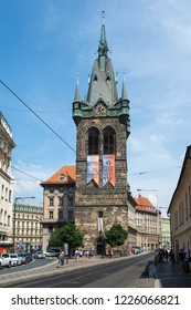 PRAGUE, CZECH REPUBLIC - AUGUST 2 : Czechia people and foreigner travelers walking and visit Henry's Bell Tower or Jindrisska Tower at New Town, Prague 1 on August 2, 2018 in Prague, Czech Republic