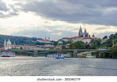 PRAGUE ,CZECH REPUBLIC - AUGUST 20 , 2014 ; Journey to Prague , trip cruise on the river Vltava on August 20 , 2012