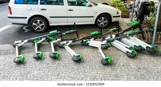 Prague, Czech republic - august 2019: group of the Lime bikes/scooters felled after wind flurry