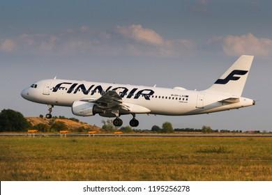 PRAGUE, CZECH REPUBLIC - AUGUST 22: Finnair Airbus A320 lands at PRG Airport on August 22, 2018. Finnair is a flag carrier of Finland.