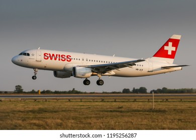 PRAGUE, CZECH REPUBLIC - AUGUST 22: Airbus A320 of Swiss landing in PRG Airport in Prague on August 22, 2018. Swiss International Air Lines is the flag carrier airline of Switzerland.