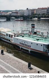 Prague, Czech Republic - August 23, 2018:  The Vysehrad steamboat, the largest and oldest steamboat in Prague, on river Vltava, the longest river within the Czech Republic.