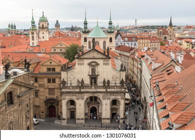 Prague, Czech Republic - August 25 2018: St. Salvator Church is part of Prague's famous Klementinum. It is situated close to Charles Bridge, Czech Republic