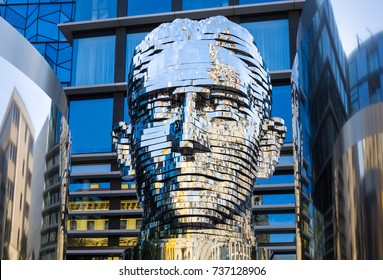 Prague, Czech Republic – August 25, 2017. The installation by the Czech artist David Cerny represents the head of Franz Kafka. The sculpture is 11 meters high and consists of 42 rotating metal plates.