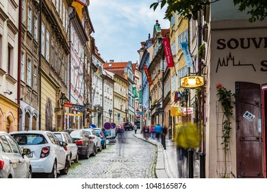 PRAGUE, CZECH REPUBLIC - AUGUST 26, 2014: locals and tourists walk in street in the historical center of Prague