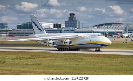 PRAGUE, Czech republic - AUGUST 26, 2018. Antonov-124-100 Ruslan - the large cargo plane at Vaclav Havel Airport Prague on AUGUST 26, 2018