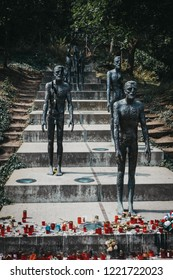 Prague, Czech Republic - August 26, 2018: Memorial commemorating the victims of the communist era between 1948 and 1989, located at the base of Petrin Hill in the Lesser Town area of Prague.