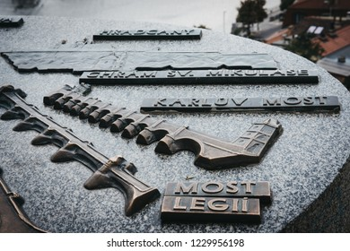 Prague, Czech Republic - August 26, 2018: Metal map in Vysehrad, Prague, that identifies some of the buildings you see in the distance.  Prague is a popular city break tourist destination in Europe.