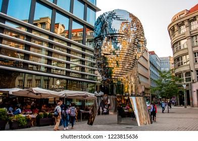 PRAGUE, CZECH REPUBLIC - August 28, 2018: Revolving statue of the head of Franz Kafka in Prague. Modern statue of the famous writer.