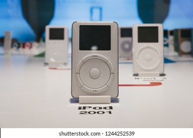 Prague, Czech Republic - August 28, 2018: Range of iPods inside Apple Museum in Prague, the largest private collection of Apple products around the world.