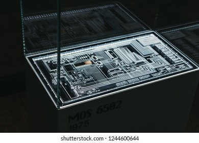 Prague, Czech Republic - August 28, 2018: MOS 6502 microprocessor on display inside Apple Museum in Prague, the largest private collection of Apple products around the world.