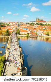 PRAGUE, CZECH REPUBLIC - AUGUST 28: Aerial overview of Prague with St Vitus Cathedral on August 28, 2017 in Prague, Czech Republic.