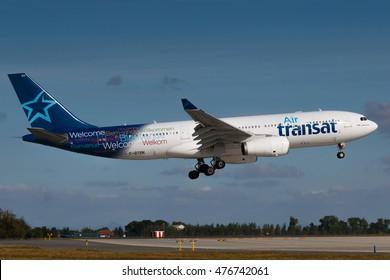 PRAGUE, CZECH REPUBLIC   AUGUST 30: Air Transat Airbus A330 200 Lands At