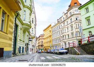 PRAGUE CZECH REPUBLIC - AUGUST 31; City street scenes and different colored buildings August 31 2017 Prague Czech Republic