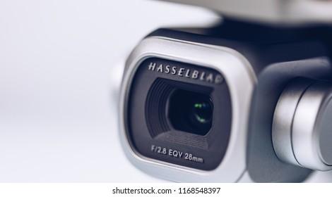 Prague, Czech Republic - August 31 , 2018: DJI Mavic 2 Pro Hasselblad camera on white background. DJI Mavic 2 Pro Hasselblad 1 inch camera is one of the most advanced camera on the market.