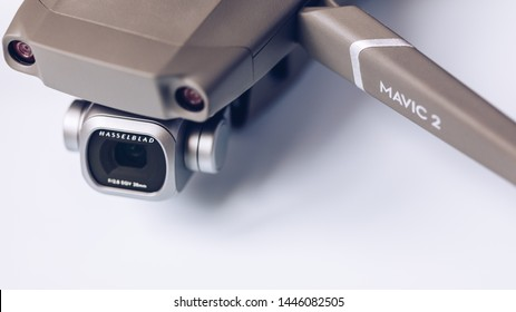Prague, Czech Republic - August 31 , 2018: DJI Mavic 2 Pro closeup, on white background. DJI Mavic 2 Pro one of the most portable drones in the market, with Hasselblad camera.