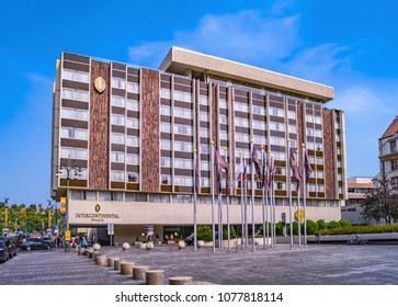 PRAGUE, CZECH REPUBLIC - AUGUST 9, 2015: Hotel InterContinental Prague is a 5-star luxury hotel in Prague, Czech Republic. The hotel is on the bank of the Vltava River near the Old Town.