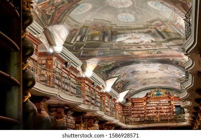 Prague Czech Republic. The baroque library inside Klementinum. Prague Czech Republic July 2019