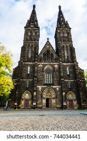 Prague, Czech Republic: Basilica of St. Peter and St. Paul, a neo-Gothic church in the Vysehrad fortress.
