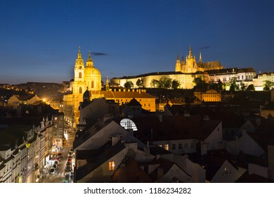 Prague, Czech Republic, Beautiful view of the night city from above. Mala Strana, church Nicholas and the Prague Castle