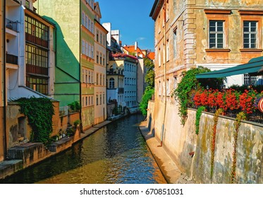 Prague, Czech Republic. Certovka River in old town -Stare Mesto