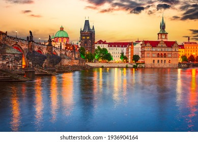 Prague, Czech Republic. Charles Bridge over Vltava River sunset and Stare Mesto, Bohemia famous place in Europe - Shutterstock ID 1936904164