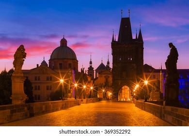 Prague, Czech Republic - Charles Bridge at Dawn