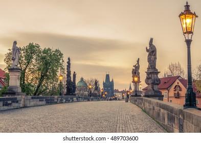 Prague, Czech Republic: Charles or Karluv Bridge in the sunrise