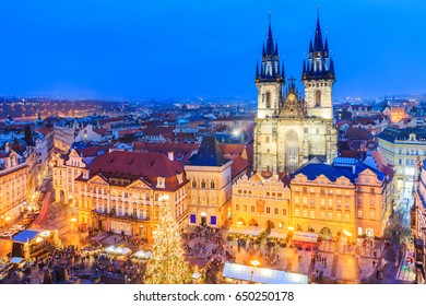 Prague, Czech Republic. Christmas market on Old Town Square with gothic Tyne cathedral.