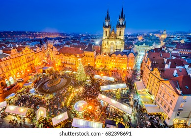 Prague, Czech Republic. Christmas Market in Stare Mesto old square, Tyn Church, Bohemia.
