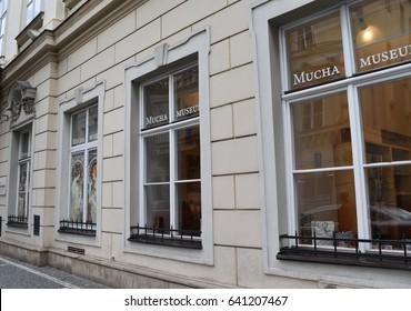PRAGUE, CZECH REPUBLIC, CIRCA APRIL 2017: the main entrance of the Alfons Mucha Museum, a famous Art Nouveau painter, illustrator and decorative artist.
