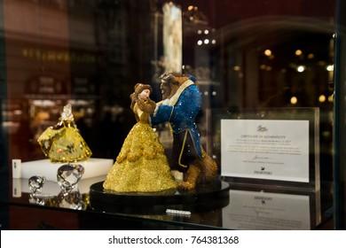 Prague -Czech republic. Circa April,2017: Beauty and the Beast made of Swarovski crystal inside a shop window.