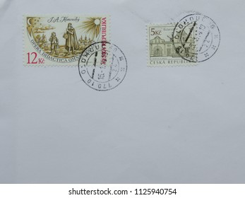 PRAGUE, CZECH REPUBLIC - CIRCA FEBRUARY 2014: letter envelope with mail stamps
