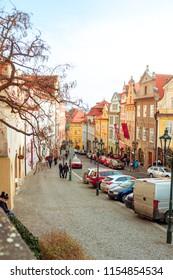 PRAGUE, CZECH REPUBLIC - CIRCA January 2018: Nerudova street, Mala Strana, Prague. - Shutterstock ID 1154854534
