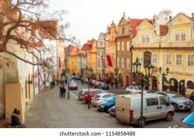 PRAGUE, CZECH REPUBLIC - CIRCA January 2018: Nerudova street, Mala Strana, Prague. Blur Background. - Shutterstock ID 1154858488